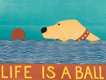 Life is a Ball - Yellow Lab 1997 Limited Edition Print - Stephen Hannock
