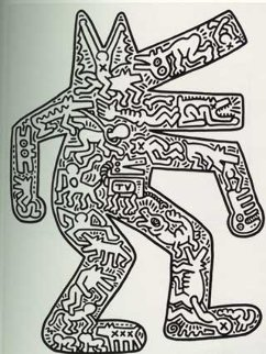 Barking Dog Wood Wall Sculpture 1986 Sculpture - Keith Haring