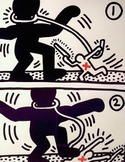 Free South Africa,  Set of 3 Lithographs 1985 Limited Edition Print - Keith Haring