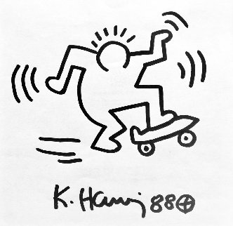 Untitled (Skateboard)  Ink Drawing 1988 10x12    Drawing - Keith Haring
