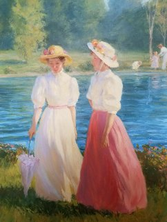 Blue Summer 1987 40x34 Original Painting - Gregory Frank Harris
