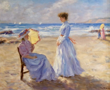 Beach Scene 1984 26x30 Original Painting - Gregory Frank Harris