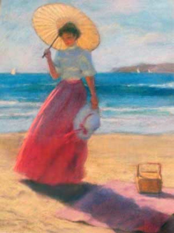Parasol on the Beach  Pastel 1987 29x23