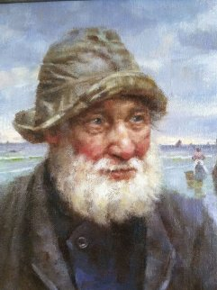 St. Ives Fisherman 2009 Original Painting - Gregory Frank Harris