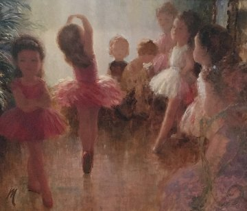 Ballerinas 1957 27x31 Original Painting - Harry Myers