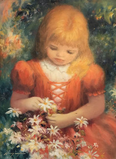 Untitled (Little Girl in Orange Dress) Original Painting - Harry Myers