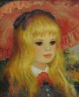 Enchanting Girl with Parasol 10x8 Original Painting - Harry Myers
