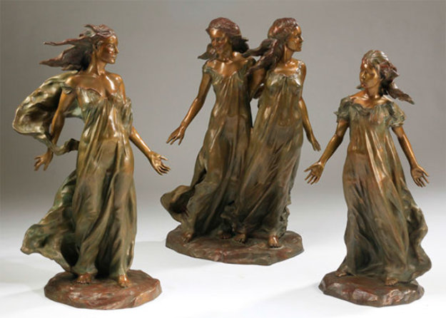 Daughters of Odessa Trilogy 3/4 Life, 1997 Set of 3 Bronze Sculptures 48 in high