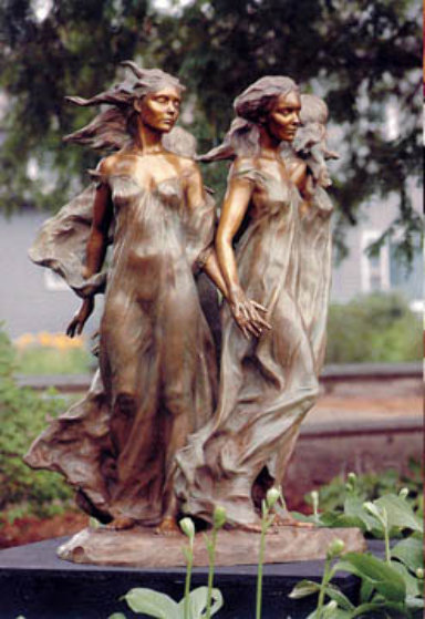 Daughters of Odessa 1/3 Life Size  1998 Bronze Sculpture 26 in