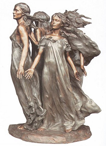 Daughters of Odessa Ensemble 1999 Bronze Sculpture  3/4 Life Size 1999 47 in