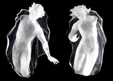 Sacred Mysteries:  Female And Male, Set of 2 Acrylic Sculptures 1983 Sculpture - Frederick Hart