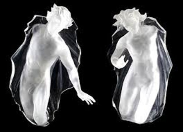Sacred Mysteries:  Female And Male, Set of 2 Acrylic Sculptures 1983
