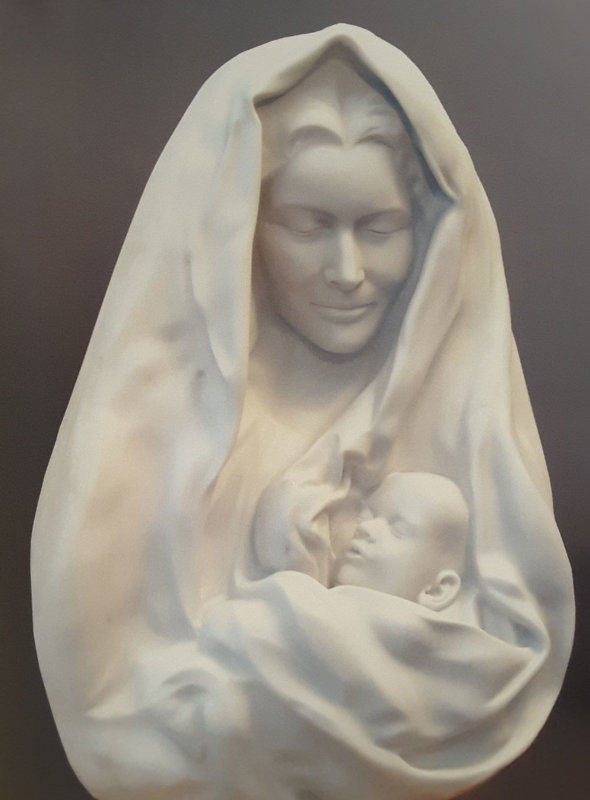Mother And Child Carved Carrara Marble Sculpture 1998