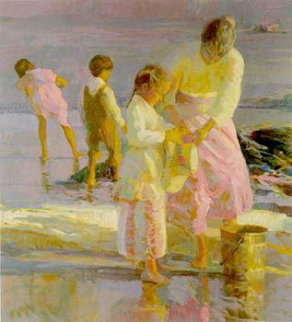 Playing at the Shore 1992 Limited Edition Print - Don Hatfield