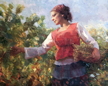 Vineyard Harvest 2009 33x37 Original Painting - Don Hatfield