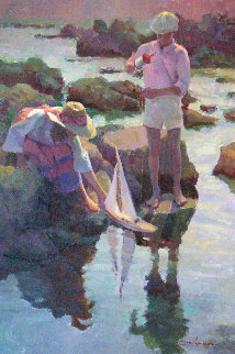 Launching the Boat 30x20 Original Painting - Don Hatfield
