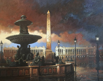 Rainy Evening Place De La Concorde 1997 39x49 Original Painting - Max Hayslette