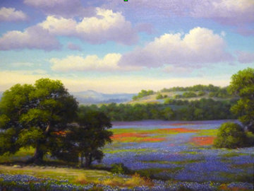 Bluebonnets of Texas 1989 33x28 Original Painting - Ronnie Hedge