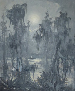 Untitled Bayou 1960 23x27 Original Painting - Colette Pope Heldner