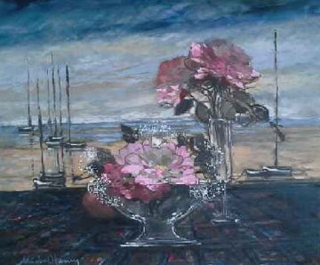 Untitled Still Life 24x36 Original Painting - Michel Henry