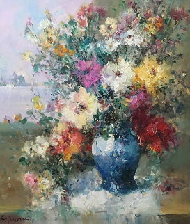 Italian Bouquet 31x27 Original Painting - Ingfried Henze-Morro