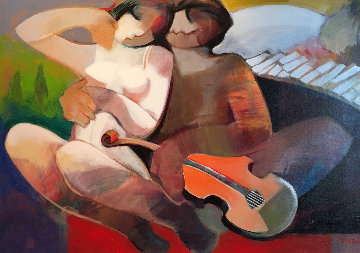 Music of Love 35x47 Original Painting - Abrishami Hessam