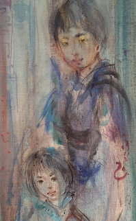 Untitled Asian Family 30x14 Original Painting - Edna Hibel