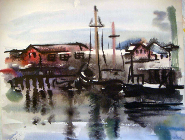 Gloucester Boats Watercolor 14x9