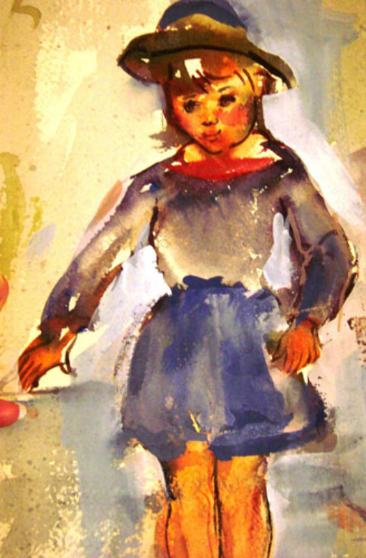 Pretty Girl Watercolor 1927 13x7
