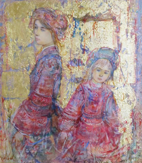 Two Young Girls Dutch Attire 1980 25x23 Original Painting - Edna Hibel