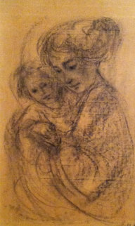 European Mother And Child 1962 18x12 Drawing - Edna Hibel