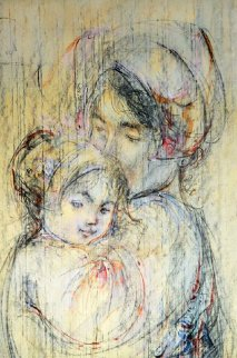 Snuggling Mother And Child 37x26 Original Painting - Edna Hibel