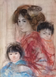 Japanese Mother And Daughter 1967 22x30  Original Painting - Edna Hibel