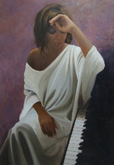 Melancholy Woman 2014 45x31 Original Painting - Jose Higuera