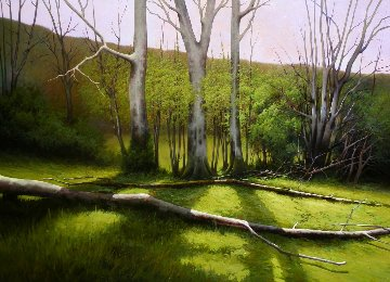 Spring Appears in the Forest 2016 57x41 Original Painting - Jose Higuera