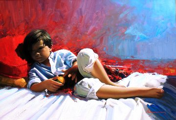Rest 2014 31x45 Original Painting - Jose Higuera