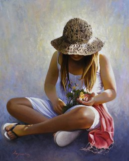 Three Flowers 2014 39x32 Original Painting - Jose Higuera