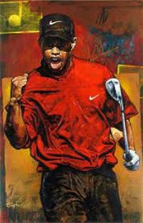 Tiger Woods - The Shot Embellished 2005 HS Tiger Limited Edition Print - Stephen Holland