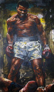 Muhammad Ali Over Sonny Liston 56x52 Original Painting - Stephen Holland