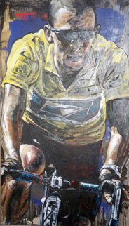 Tour De France Lance Armstrong 2006 39x24 Original Painting - Stephen Holland