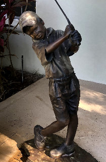 Love of the Game Life Size Bronze Sculpture 2010 50 in Sculpture - Holly Young