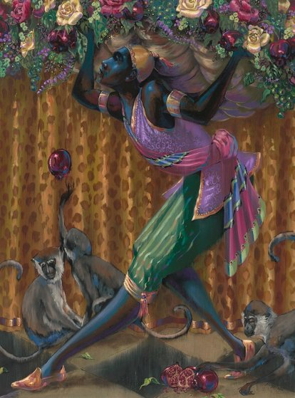 Blackamoor With Monkeys 2015 40x30