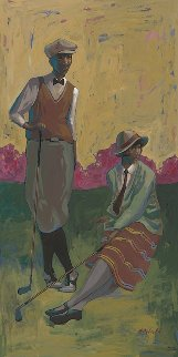 Relaxing on the Green 2015 48x24 Original Painting - John Holyfield