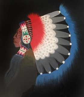 Comanche Chief 1972 9x7 Original Painting - Rance Hood