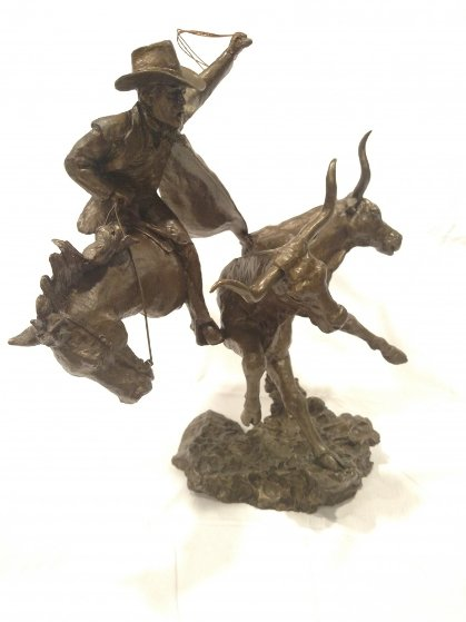Head Em Up Bronze Sculpture 18 in 2004
