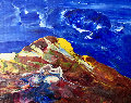 Blue Sky - Volcano 2007 17x23 Original Painting - Anthony Hopkins