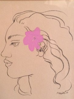 Pink Hibiscus Drawing 1977 7x5 Original Painting - Pegge Hopper