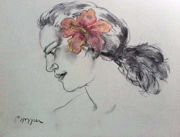 Pink Hibiscus Drawing 2002 Original Painting - Pegge Hopper