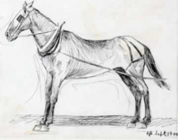 Working Horse 1990 15x16 Drawing - Edward Hopper