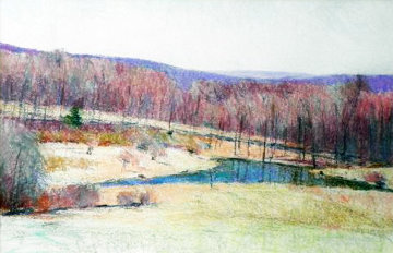 Untitled Landscape 1986 24x40 Original Painting - Larry Horowitz